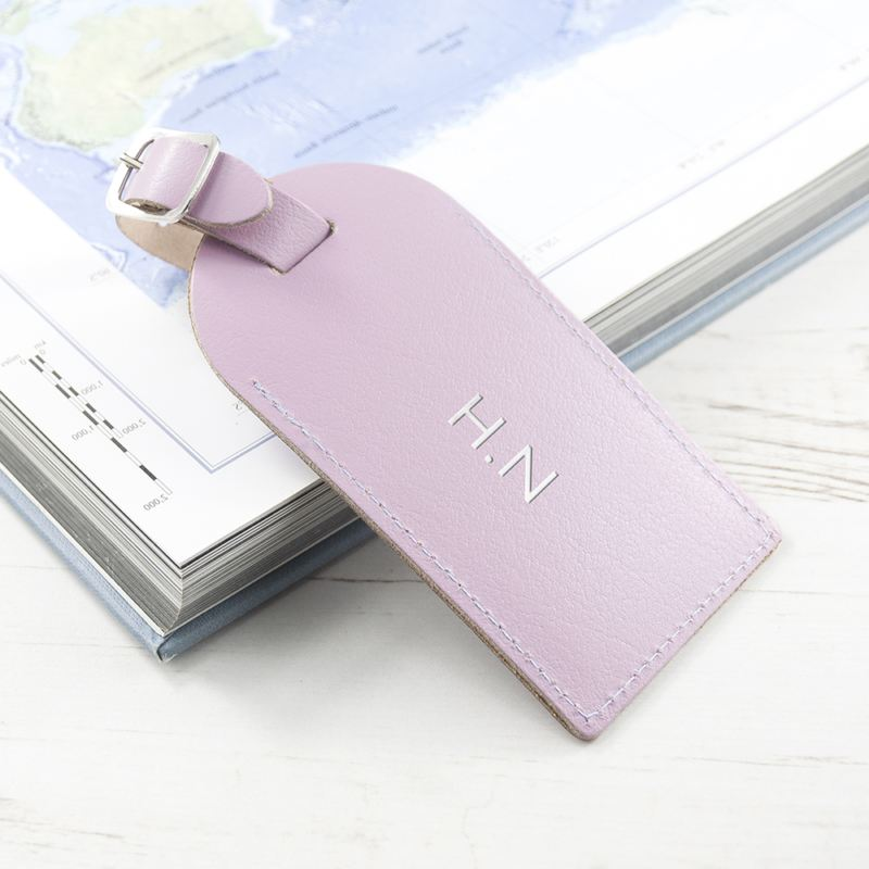Personalised Lilac Foiled Leather Luggage Tag product image