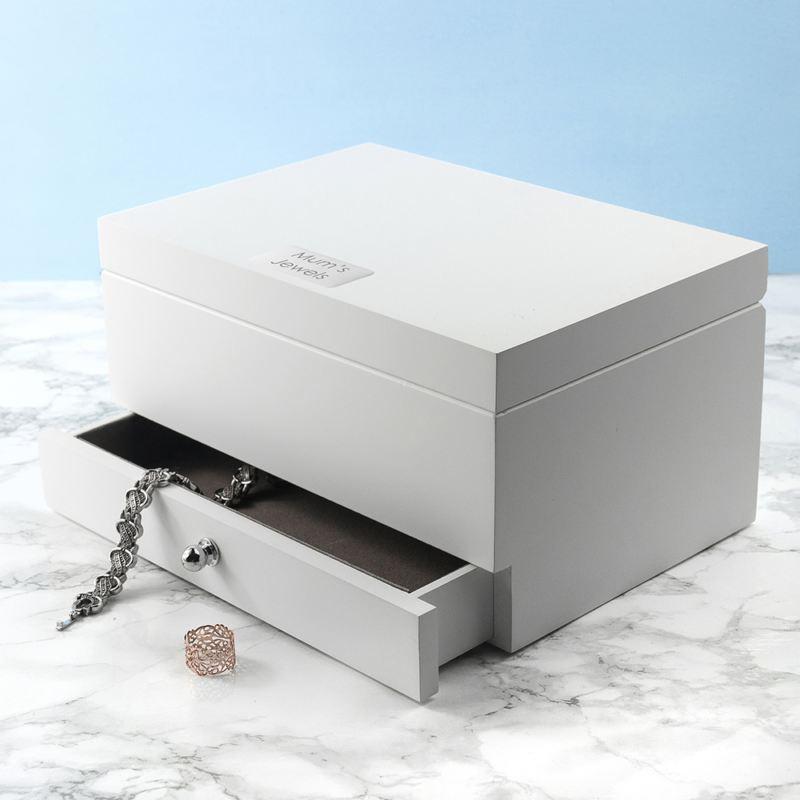 Personalised Luxe Powder White Jewellery Box