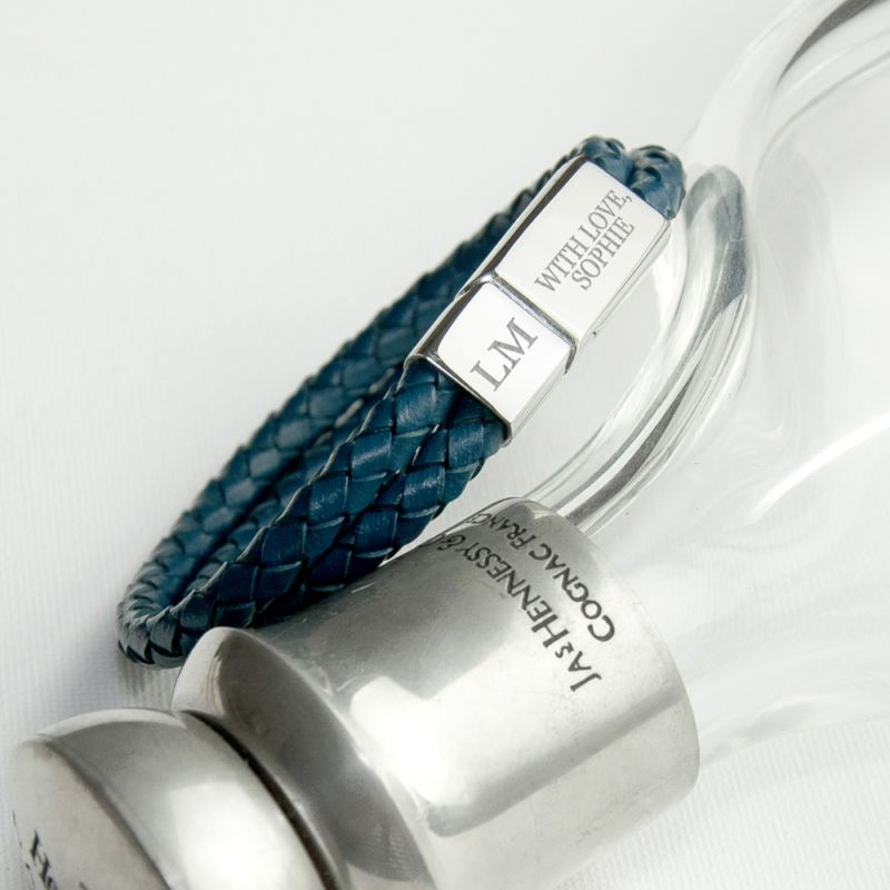 Personalised Men's Dual Leather Woven Bracelet in Teal product image