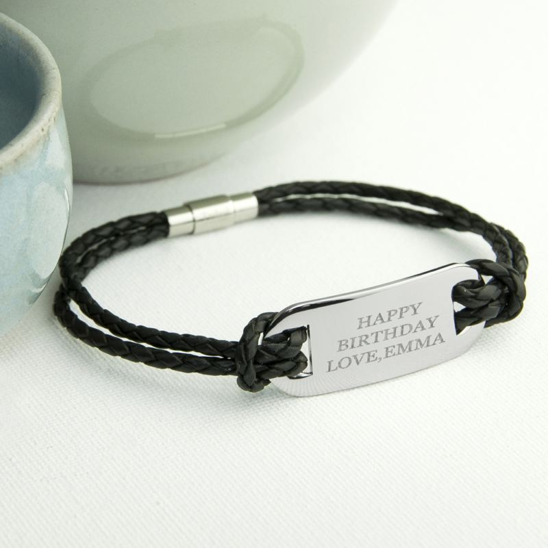 Personalised Men's Statement Leather Bracelet in Black product image