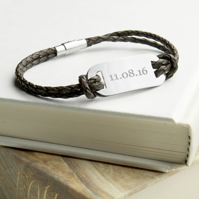 Personalised Men's Statement Leather Bracelet In Brown product image
