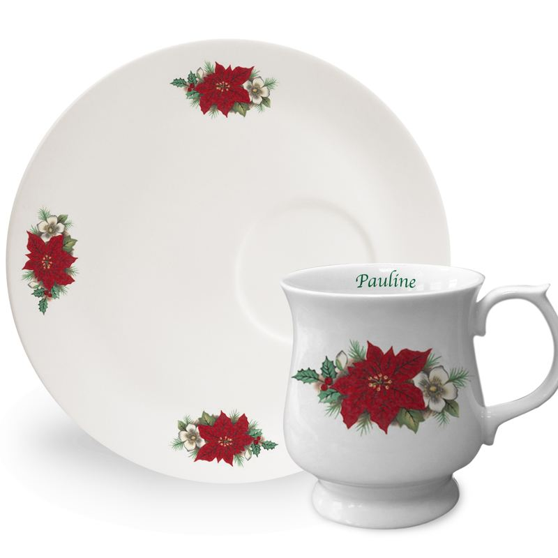 Personalised Poinsettia Stacker Mug and Tray product image