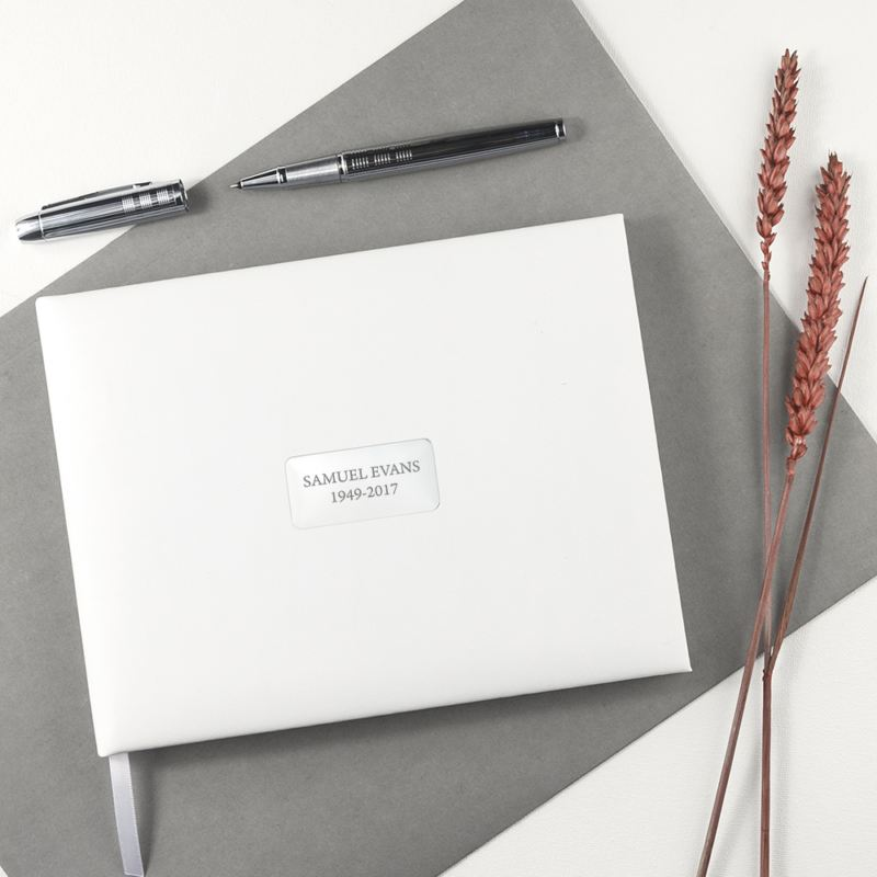 Personalised White Leather Memoriam Book product image