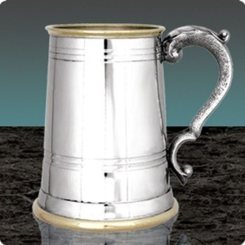 Pewter and Brass Engraved Tankard product image