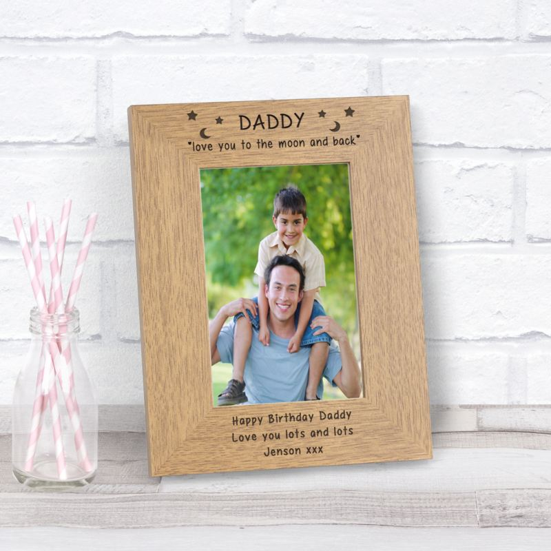 Daddy love you to the moon and back wood frame 6 x 4 product image