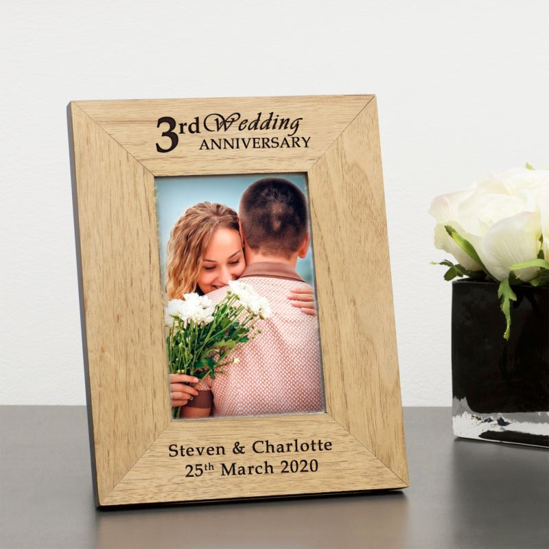 Personalised 3rd Wedding Anniversary Wooden Photo Frame product image