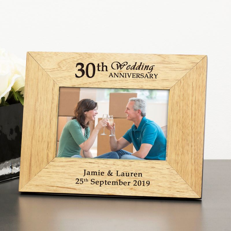 Personalised 30th Wedding Anniversary Wooden Photo Frame product image