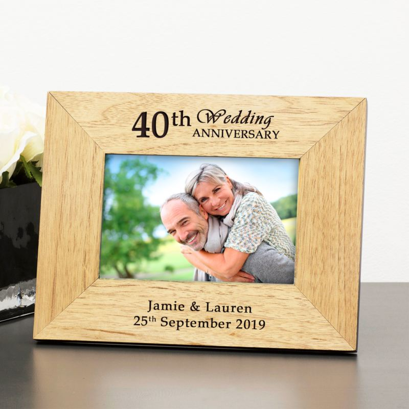 Personalised 40th Wedding Anniversary Wooden Photo Frame product image