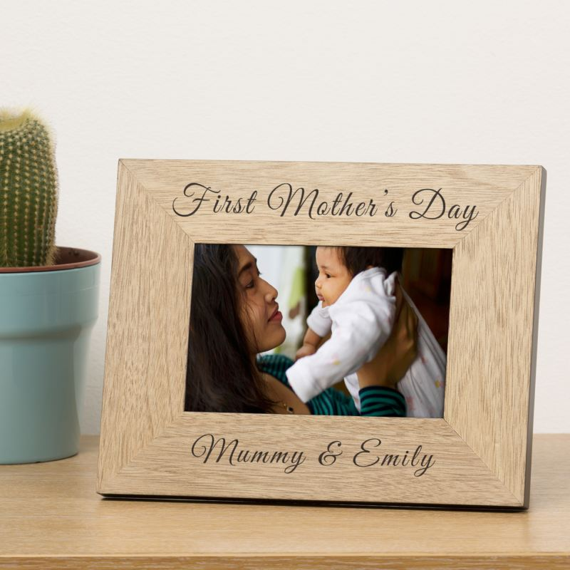 Engraved First Mothers Day Wood Frame 6x4 product image