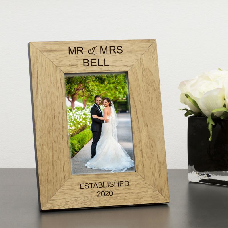 Mr & Mrs Personalised Wood Frame 6 x 4 product image