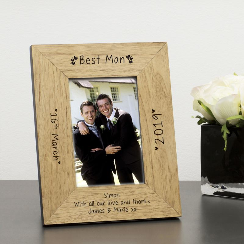 Personalised Best Man Wood Frame 6 x 4 product image