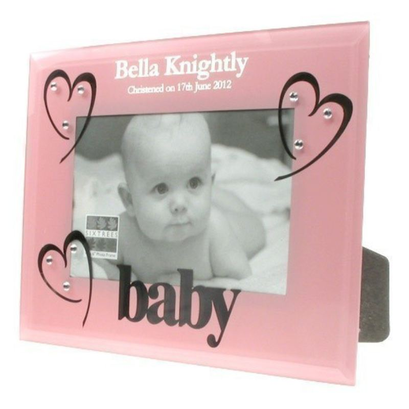 Pink Glass Christening Photo Frame product image