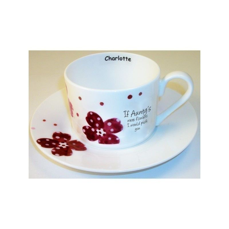 Pink Pansies Auntie Sentiments Cup & Saucer product image
