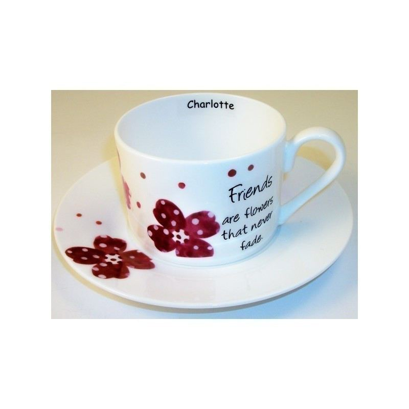 Pink Pansies Friends Sentiments Cup & Saucer product image