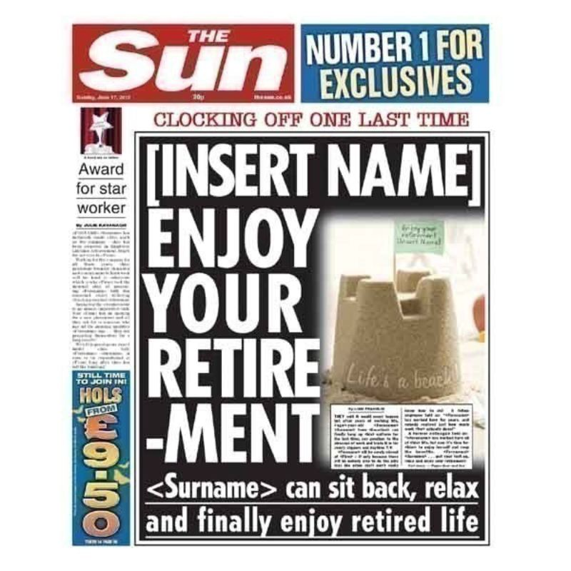 Retirement Sun Newspaper Spoof The Personalised Gift Shop