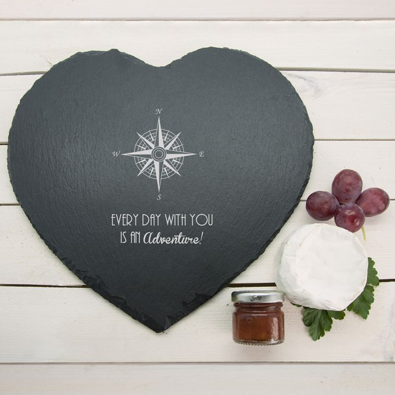 Romantic Compass Heart Slate Personalised Cheese Board product image