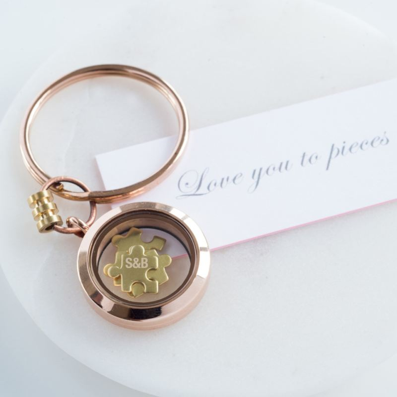 Rose Gold Engraved 'Love You To Pieces' Keyring product image