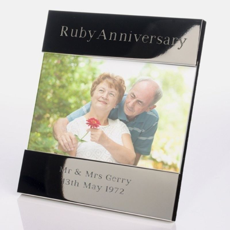 Ruby Wedding Anniversary Shiny Silver Photo Frame product image