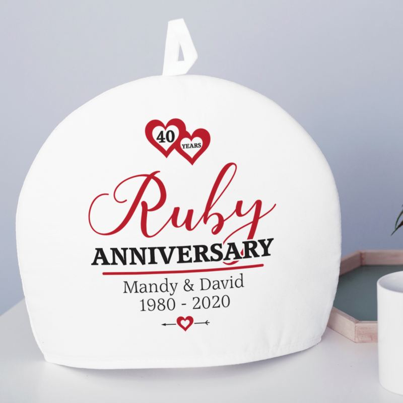 Personalised Ruby Wedding Anniversary Tea Cosy product image