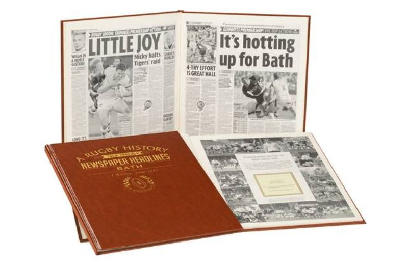 Rugby Newspaper Bath Book - Leatherette Cover product image