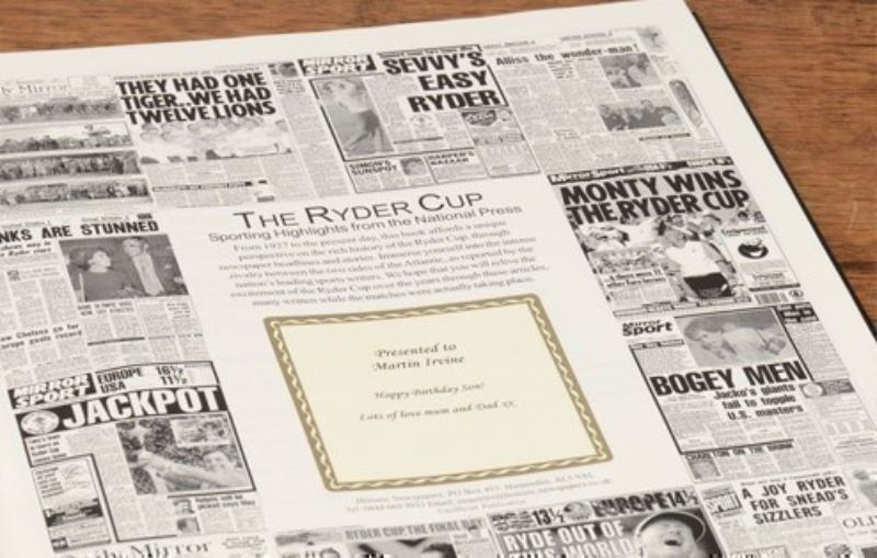 Ryder Cup Golf Newspaper Book - Leatherette Cover product image