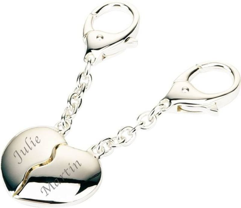 Silver Plated Joining Heart Keyrings product image