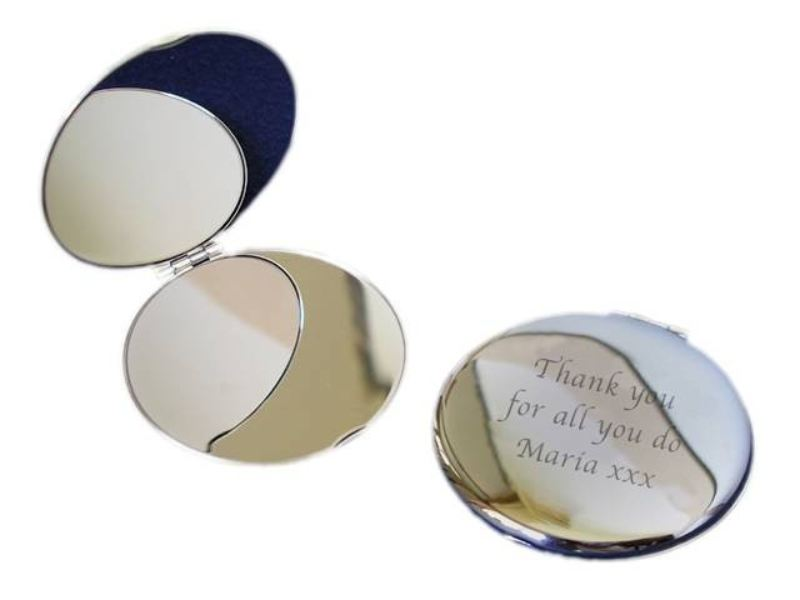 Silver Plated Round Compact Mirror product image