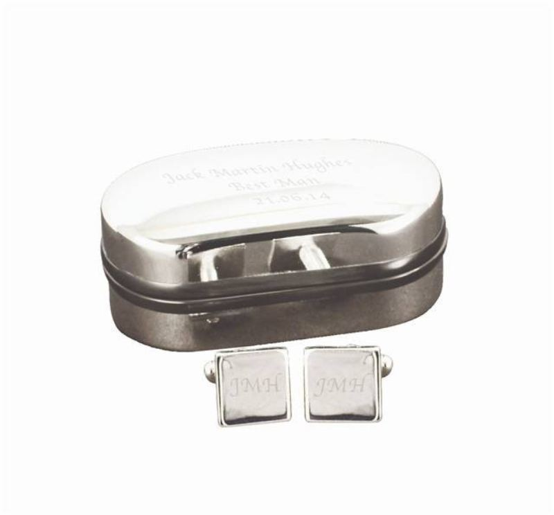 Silver Plated Square Cufflinks in Engraved Chrome Box product image