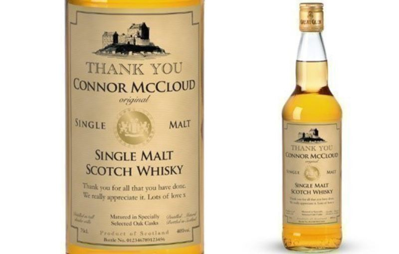 Single Malt Whisky with Thank You Label in a Silk Lined Box product image