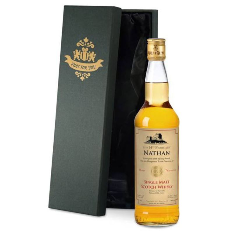 Single Malt Whisky with Valentine's Day Label in a Silk Lined Box product image