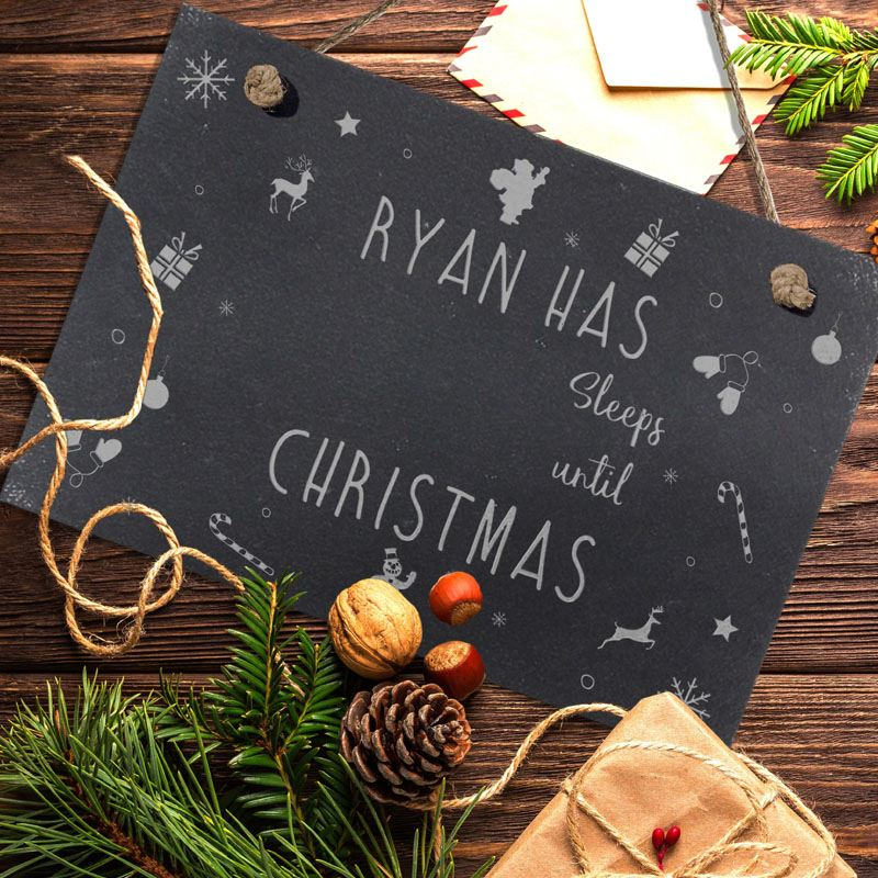 Sleeps Until Christmas Hanging Slate Sign product image