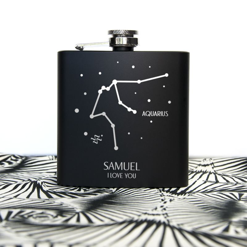 Star Constellation Matte Black Personalised Hip Flask product image