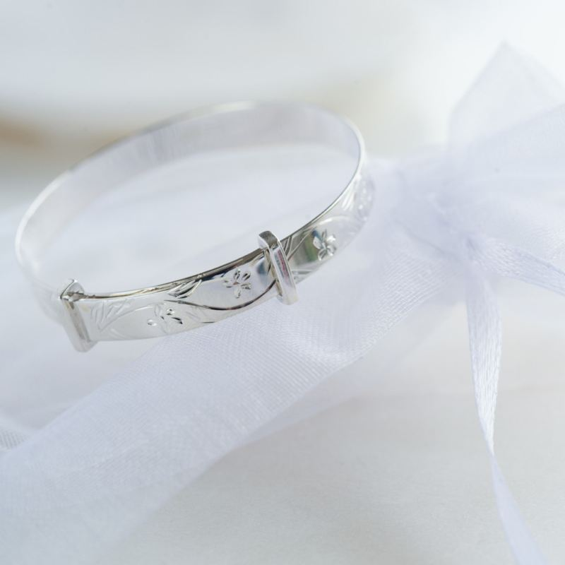 Sterling Silver Christening Bangle in Personalised Gift Box product image