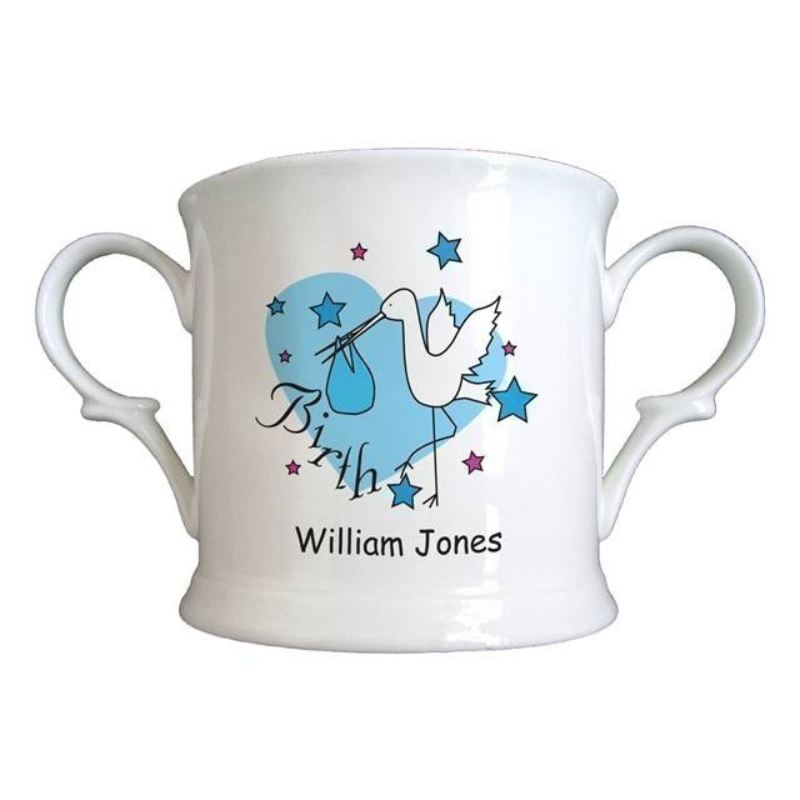 Personalised Baby Boy Birth Cup - Stork Design product image