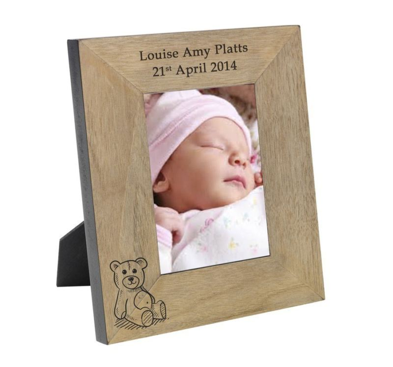 Teddy Bear Wood Frame 6 x 4 - The Personalised Gift Shop