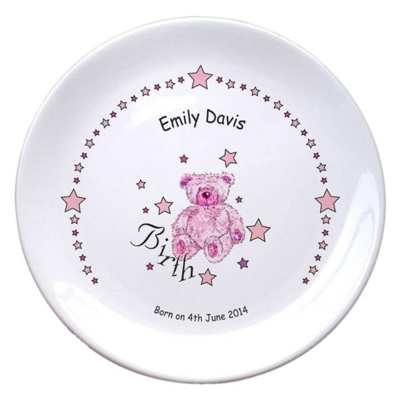 "Teddy & Stars Pink Birth 8"" Bone China Coupe Plate product image"