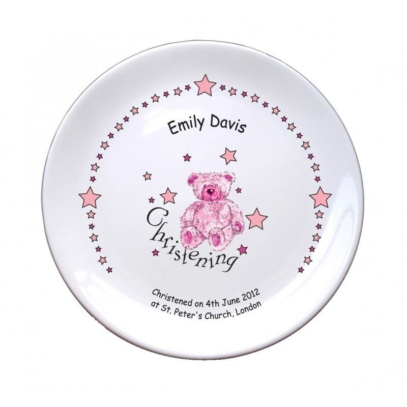 "Teddy & Stars Pink Christening 8"" Coupe Plate product image"