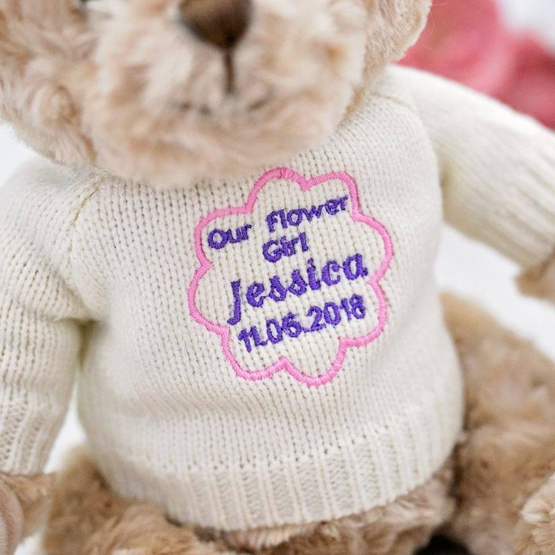 Flower Girl Teddy Bear With Embroidered Jumper product image
