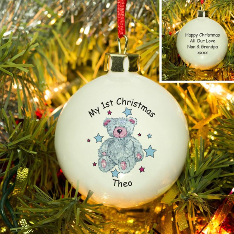 Teddy Bear First Christmas Personalised Bauble product image