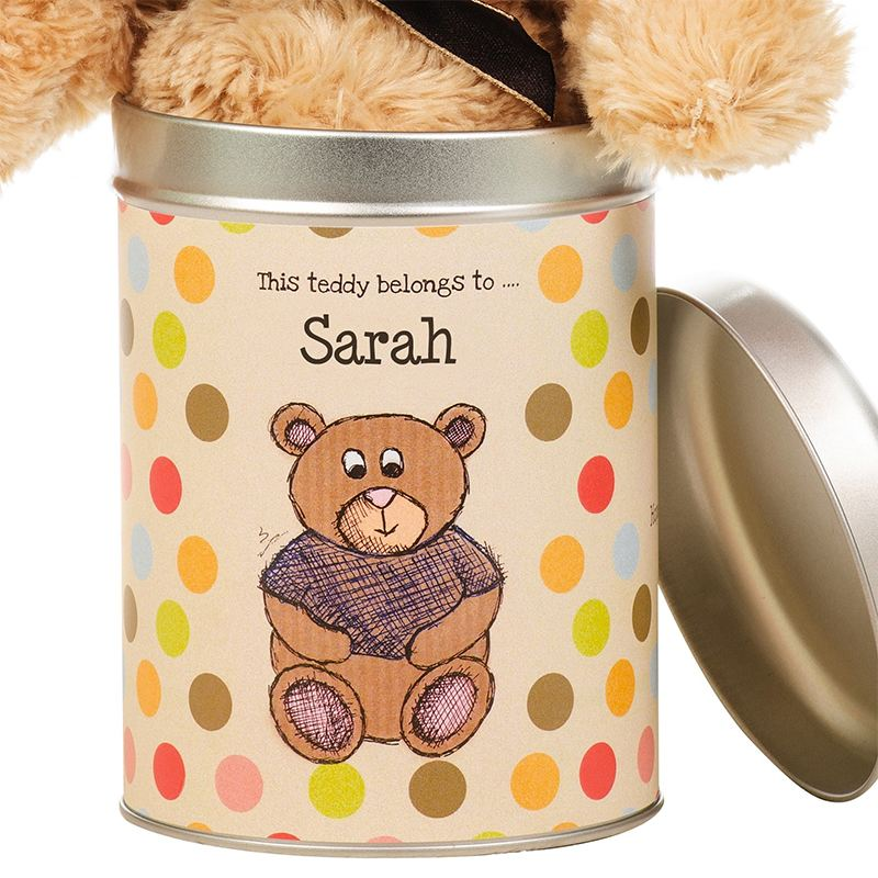 Personalised Teddy in a Tin - For Any Occasion product image