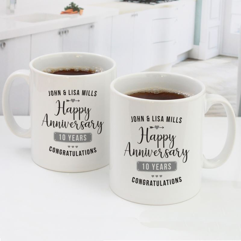 Personalised Pair Of 10th Wedding Anniversary Mugs The Personalised Gift Shop