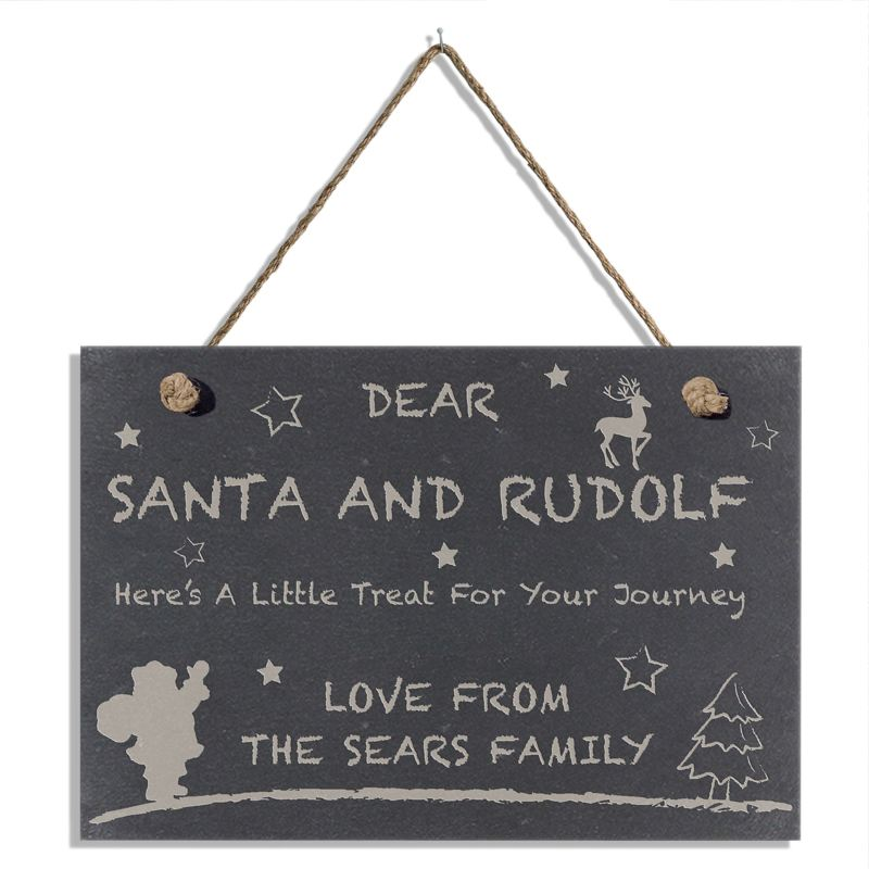 Treats for Santa Personalised Slate Hanging Sign product image