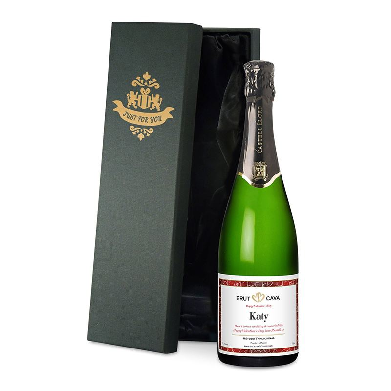 Valentine's Day Personalised Bottle of Cava product image
