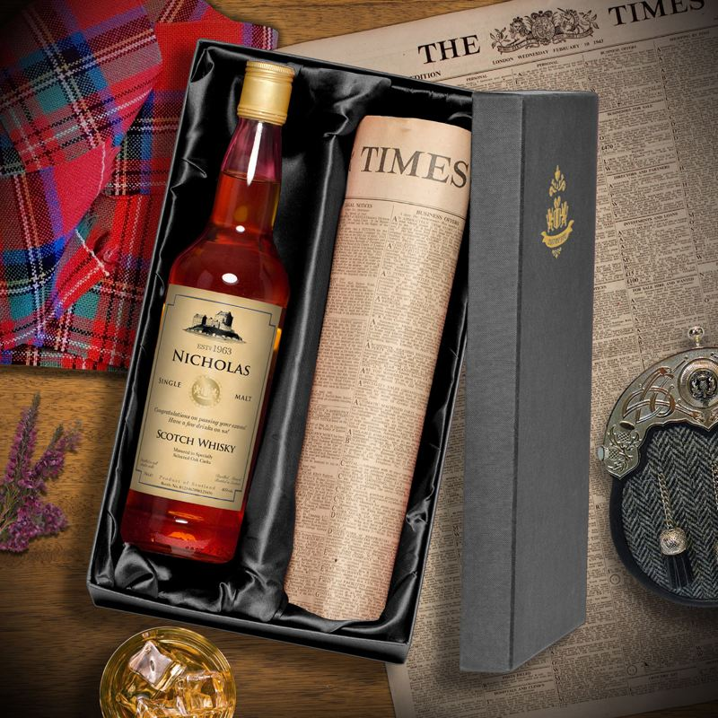 Single Malt Whisky and Newspaper Gift Set product image