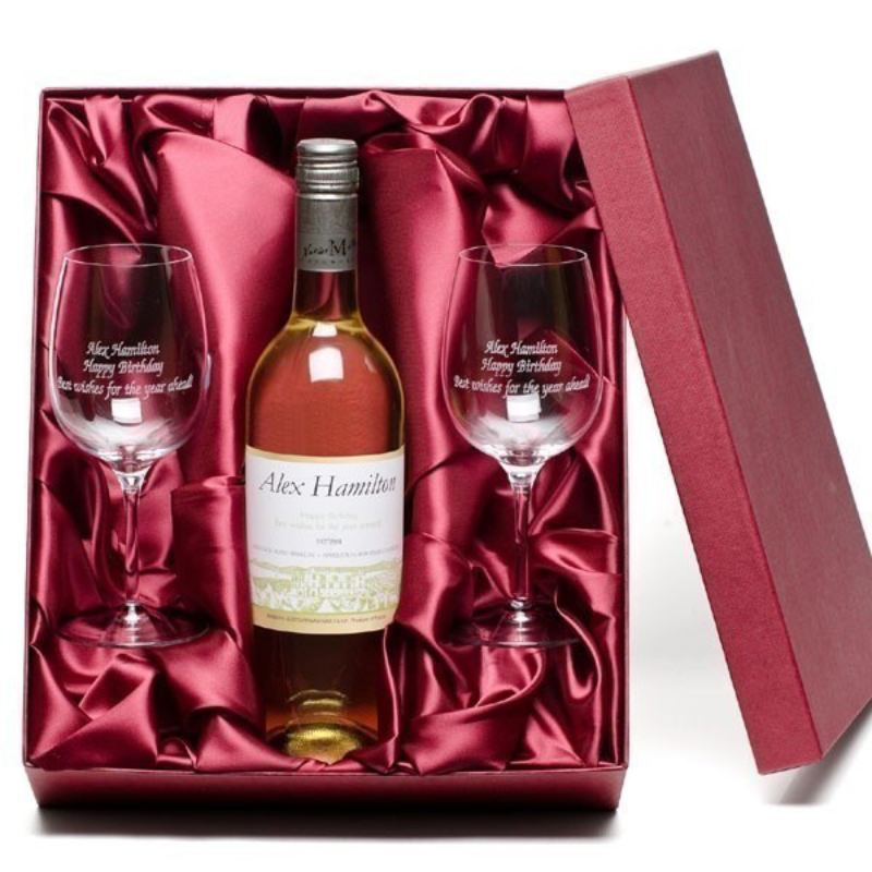 White Wine and Personalised Glasses Gift Set product image