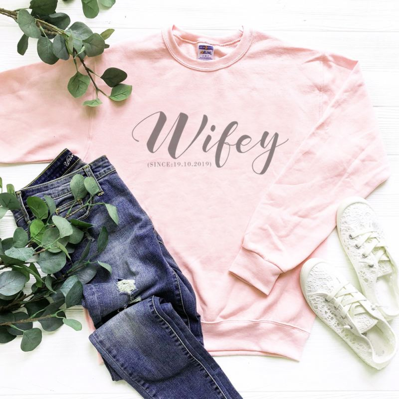 Personalised Wifey Pink Sweatshirt product image